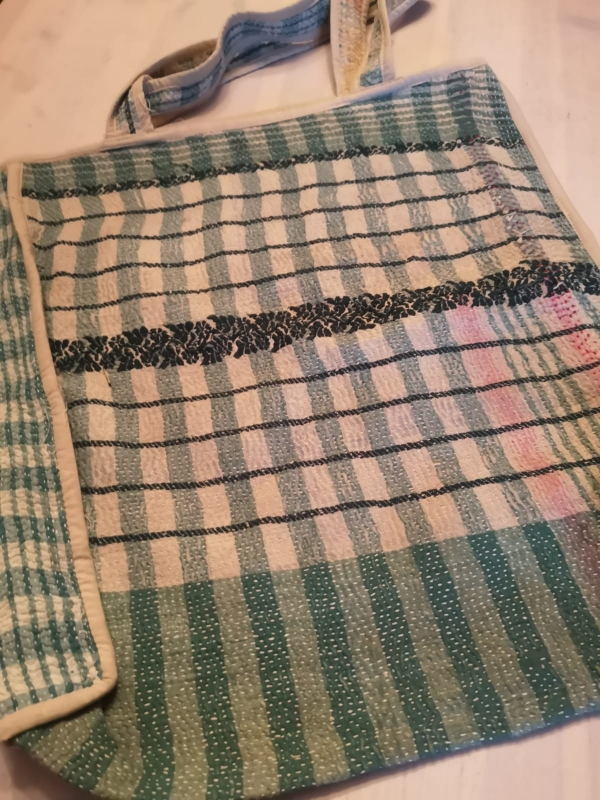 Green tartan kantha bag .jpg