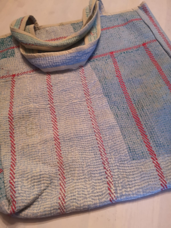 Pale blue red stripe kantha bag.jpg